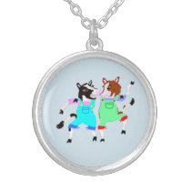 The Dancing Cows Silver Plated Necklace