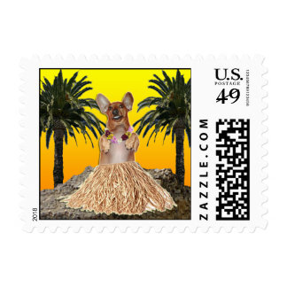 The Dancing Dachshund Postage Stamps