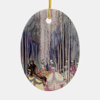 The Dancing Princesses Double-Sided Oval Ceramic Christmas Ornament