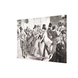 The Dancing Rooms, plate 3 of 'The Drunkard's Chil Stretched Canvas Print