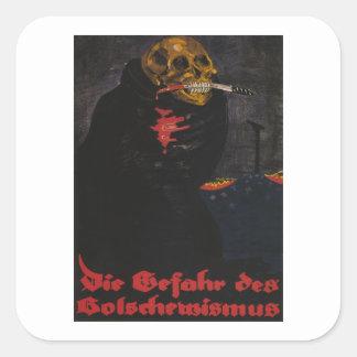 The danger of bolshevism (1919)_Propaganda Poster Square Sticker
