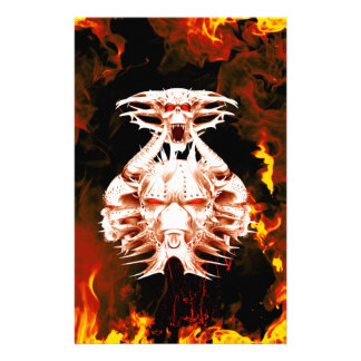 The dark side, skull surrounded by fire customized stationery