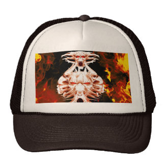 The dark side, skull surrounded by fire trucker hat
