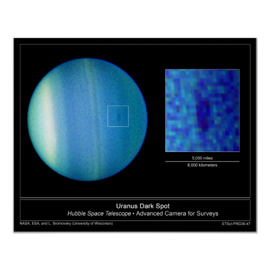 The Dark Spot on Planet Uranus from the Hubble Poster
