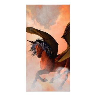 The dark unicorn personalized photo card