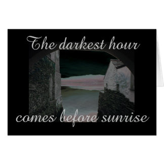 The darkest hour old building with black border card