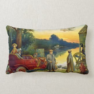 The Dawn of the Age of the Automobile Vintage Lumbar Pillow