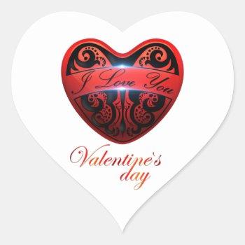 The Day Of San Valentin Heart Sticker by Valentinesandlove at Zazzle