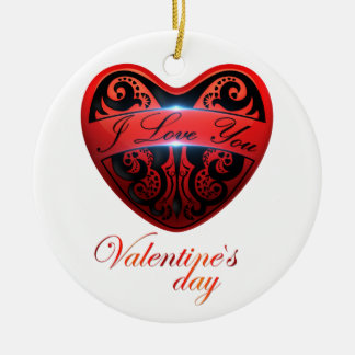 The day of San Valentin Double-Sided Ceramic Round Christmas Ornament