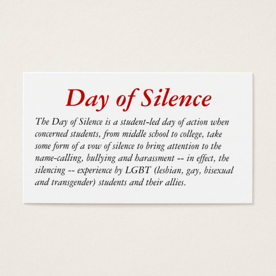 The Day of Silence Card. Business Card