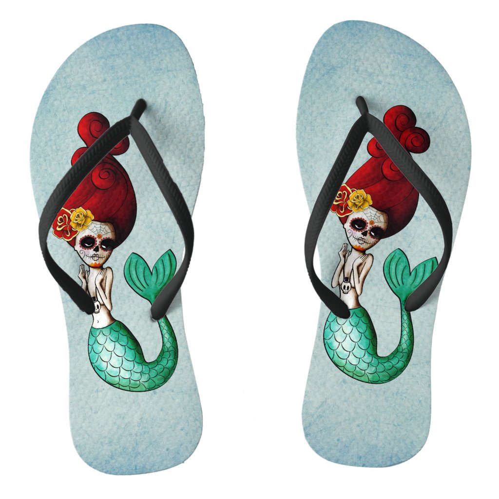 The Day of The Dead Adorable  Mermaid Flip Flops