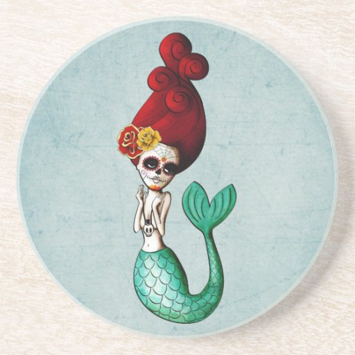 The Day of The Dead Beautiful Mermaid Drink Coaster