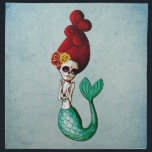 """The Day of The Dead Beautiful Mermaid Gal Cloth Napkin<br><div class=""""desc"""">Dia de Los Muertos art is crucial to our store. And this nautical design is as lovely as it gets - Dead Mermaid La Catrina. Red hair, bone necklace, sugar skull makeup - she is proper Day of The Dead girl - the star among mermaids. Awesome design for this cloth...</div>"""