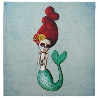 The Day of The Dead Beautiful Mermaid Gal Cloth Napkin