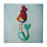 The Day of The Dead Beautiful Mermaid Small Square Tile