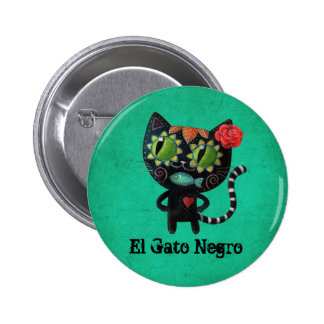 The Day of The Dead Black Cat 2 Inch Round Button