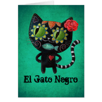 The Day of The Dead Black Cat Card