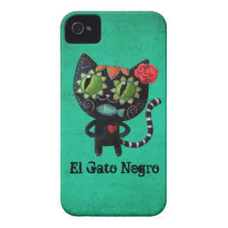 The Day of The Dead Black Cat Case-Mate iPhone 4 Case