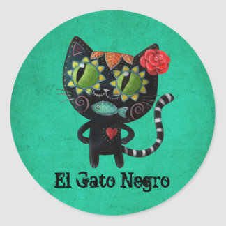 The Day of The Dead Black Cat Classic Round Sticker