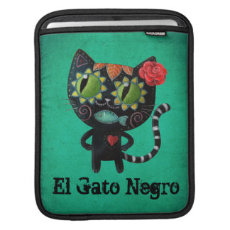 The Day of The Dead Black Cat iPad Sleeve