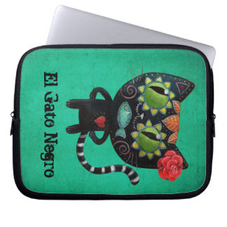 The Day of The Dead Black Cat Laptop Sleeve