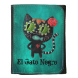 The Day of The Dead Black Cat Leather Trifold Wallet