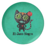 The Day of The Dead Black Cat Party Plate