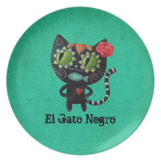 The Day of The Dead Black Cat Plate