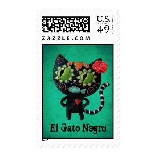 The Day of The Dead Black Cat Postage