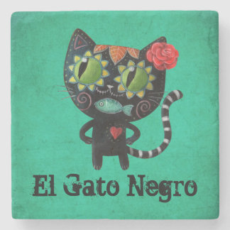 The Day of The Dead Black Cat Stone Coaster