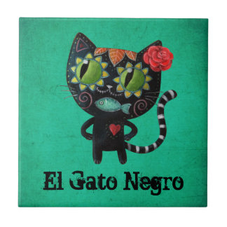 The Day of The Dead Black Cat Small Square Tile