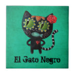 The Day of The Dead Black Cat Tiles