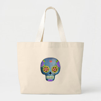 The Day of The Dead Blue Sugar Skull Jumbo Tote Bag