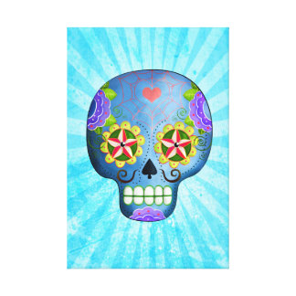 The Day of The Dead Blue Sugar Skull Canvas Print