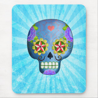 The Day of The Dead Blue Sugar Skull Mouse Pad