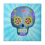 The Day of The Dead Blue Sugar Skull Tile