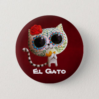 The Day of The Dead Cute Cat Button