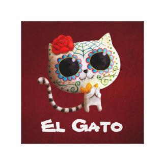 The Day of The Dead Cute Cat Canvas Print