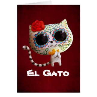 The Day of The Dead Cute Cat Card