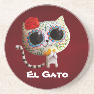 The Day of The Dead Cute Cat Drink Coaster