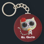 """The Day of The Dead Cute Cat Keychain<br><div class=""""desc"""">This is White Cat with sugar skull makeup. It&#39;s cute and according to Mexican traditions,  this make up is the preparation for Dia de Los Muertos. Like every Dia de Los Muertos art in Party Monster Store,  it is cute and sweet. Perfect design for gifts for cat lovers.</div>"""