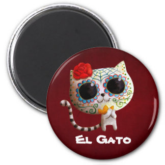 The Day of The Dead Cute Cat 2 Inch Round Magnet