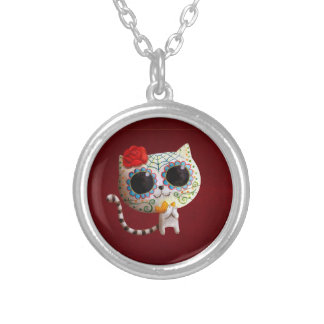 The Day of The Dead Cute Cat Round Pendant Necklace