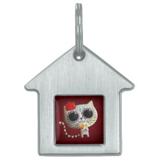 The Day of The Dead Cute Cat Pet Name Tag
