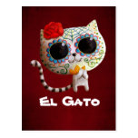 The Day of The Dead Cute Cat Post Card