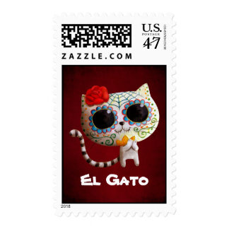 The Day of The Dead Cute Cat Postage