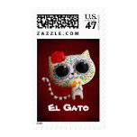 The Day of The Dead Cute Cat Postage Stamp