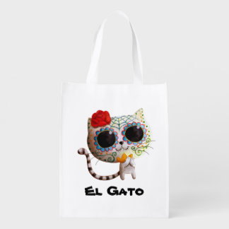 The Day of The Dead Cute Cat Reusable Grocery Bag