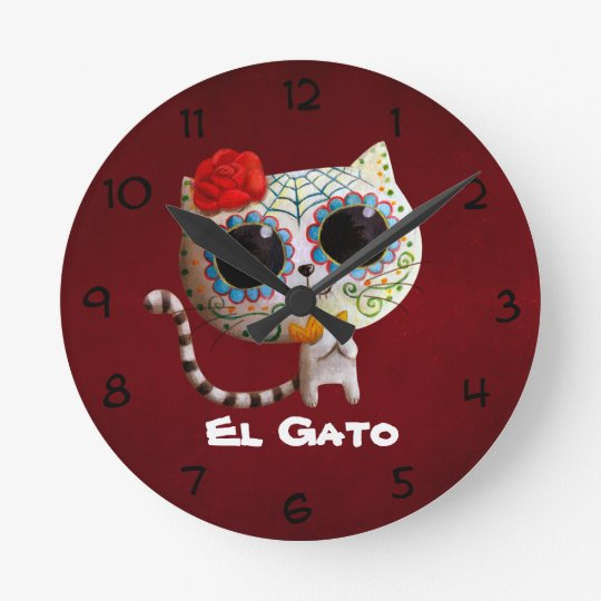 The Day of The Dead Cute Cat Round Clock