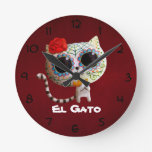 The Day of The Dead Cute Cat Round Wall Clocks